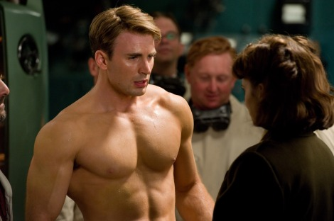 "Chris Evans, as Steve Rogers, is shown in a scene from ""Captain America: The First Avenger."" (Photo credit: Marvel Studios)"