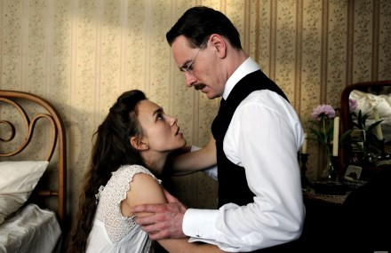 "Keira Knightley and Michael Fassbender are shown in a scene from ""A Dangerous Method."" (Photo credit: Sony Pictures Classics)"