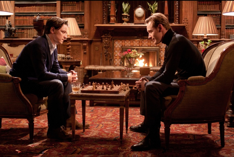 "Before Charles Xavier (James McAvoy, left) and Erik Lehnsherr took the names Professor X and Magneto, they were two young men who became the closest of friends. Here they enjoy a game of chess in ""X-Men: First Class,"" the first of many they would play over their long and evolving history. (Photo credit: AP photo by Twentieth Century Fox)"