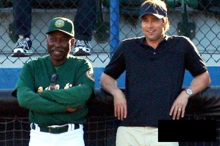 "Brad Pitt, right, is shown in a scene from ""Moneyball."" (Photo credit: Columbia Pictures)"