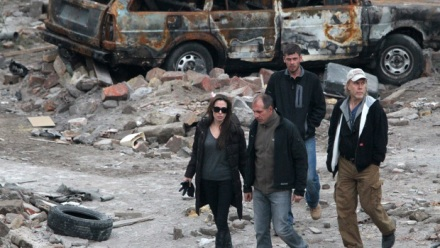 "Angelina Jolie, left, in her directorial debut, is shown on the scene of ""In the Land of Blood and Honey."" (Photo credit: FilmDistrict)"