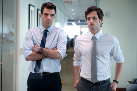 """Zachary Quinto, left, and Penn Badgley are shown in a scene from """"Margin Call."""" (Photo credit: AP photo by Roadside Attractions, JoJo Whilden)"""