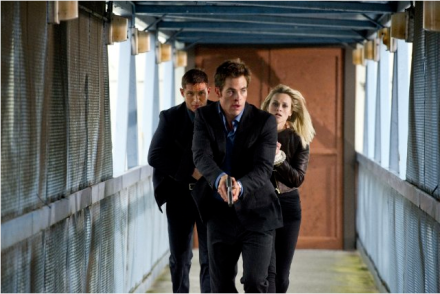 "Tom Hardy (left), Chris Pine and Reese Witherspoon are shown in a scene from ""This Means War."" (Photo credit: Twentieth Century Fox Film Corporation)"