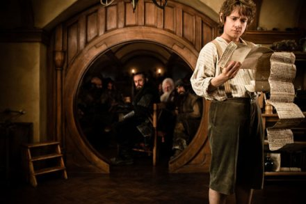 "Martin Freeman, front, is shown in a scene from ""The Hobbit: An Unexpected Journey."" (Photo credit: Warner Bros. Pictures)"