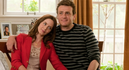 "Emily Blunt and Jason Segel are shown in a scene from ""The Five-Year Engagement."" (Photo credit: Universal Pictures)"
