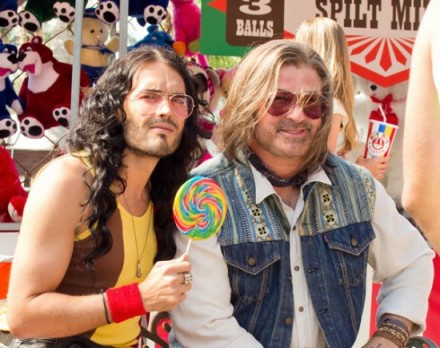 "Russel Brand, left, and Alec Baldwin are shown in a scene from ""Rock of Ages."" (Photo credit: Warner Bros. Pictures)"