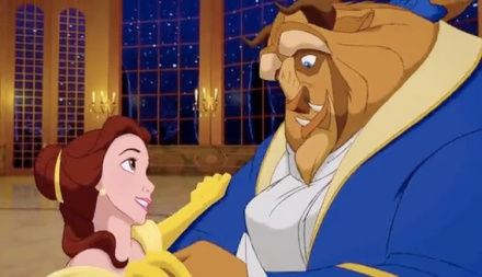 "Belle (voiced by Paige O'Hara) and the Beast (voiced by Robby Benson) are shown in the infamous ballroom scene from ""Beauty and the Beast."" (Photo credit: Walt Disney Studios)"