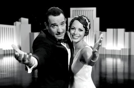 "Jean Dujardin and Bérénice Bejo are shown in a scene from ""The Artist."" (Photo credit: The Weinstein Company)"