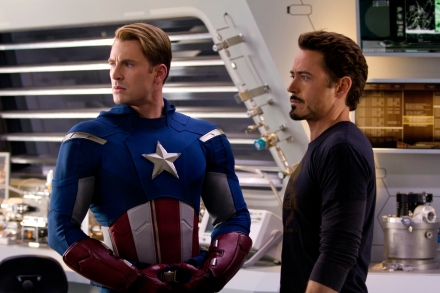 "Chris Evans, portraying Captain America, left, and Robert Downey Jr., portraying Tony Stark, are shown in a scene from Marvel's ""The Avengers"" (Photo credit: AP photo by Disney, Zade Rosethal)"