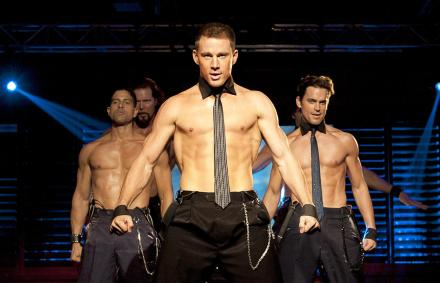 "Channing Tatum, center, is shown in a scene from ""Magic Mike."" (Photo credit: Warner Bros.)"