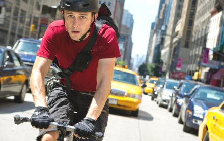 "Above, Joseph Gordon-Levitt is shown in a scene from ""Premium Rush."" (Photo credit:"