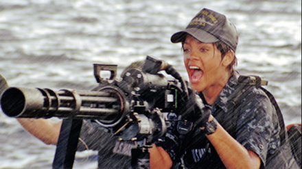 "Above, Rihanna is shown in a scene from ""Battleship."" (Photo credit: Universal Pictures)"