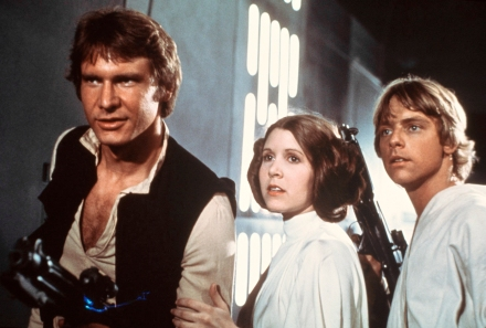 "Above, from left, Harrison Ford, Carrie Fisher, and Mark Hamill in a scene from the film ""Star Wars."" (Photo credit: AP photo by 20th Century-Fox Film Corporation)"