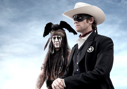 "Aboev, Johnny Depp, left, as Tonto, a spirit warrior on a personal quest, who joins forces in a fight for justice with Armie Hammer, as John Reid, a lawman who has become a masked avenger, The Lone Ranger, from the movie, ""The Lone Ranger."" The film opens nationwide on July 3, 2013. (Photo credit: AP photo by Disney/Bruckheimer Films, Peter Mountain)"