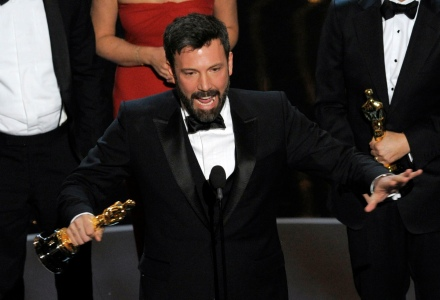 "In this Sunday Feb. 24, 2013, photo, director and producer Ben Affleck accepts the award for best picture for ""Argo"" during the Oscars at the Dolby Theatre, in Los Angeles. (Photo credit: AP photo by Chris Pizzello/Invision)"