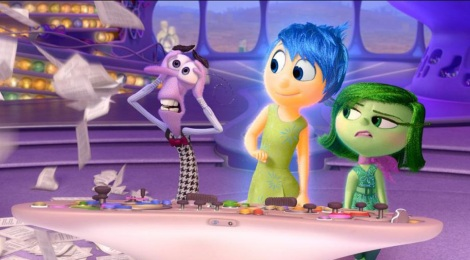 "A scene from ""Inside Out"" showing Anger, from left, (voiced by Lewis Black) Joy (Amy Poehler) and Disgust (Mindy Kaling). (Photo credit: Pixar)"