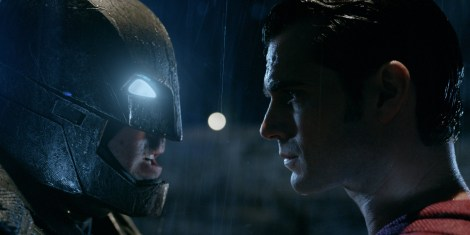 "Ben Affleck as Batman and Henry Cavill as Superman are shown in a scene from ""Batman v Superman: Dawn of Justice."" (Photo credit: Warner Bros.)"