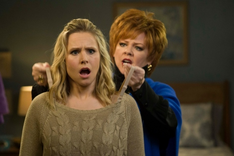 "Kristen Bell and Melissa McCarthy are shown in a scene from ""The Boss."" (Photo credit: Universal Pictures)"