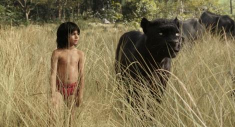 Mowgli (Neel Sethi) and Bagheera, voiced by Ben Kingsley. (Photo credit: Disney)