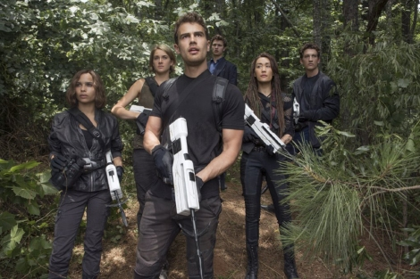 "Maggie Q, Shailene Woodley, Miles Teller, Zoe Kravitz, Theo James and Ansel Elgort in ""The Divergent Series: Allegiant."" (Photo credit: Murray Close)"