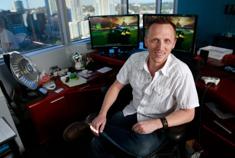 """Dave Hagewood, studio director and CEO of Psyonix, the team behind the hit game """"Rocket League,"""" poses for a portrait at the Psyonix headquarters on Feb. 11, 2016, in San Diego. (Photo credit: Misael Virgen/San Diego Union-Tribune)"""