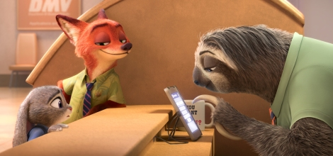 "Judy Hopps, voiced by Ginnifer Goodwin, left, Nick Wilde, voiced by Jason Bateman,  second left, in a scene from ""Zootopia."" (Photo credit: Disney)"