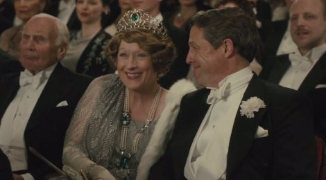 "Meryl Streep and Hugh Grant are shown in a scene from ""Florence Foster Jenkins."" (Photo credit: Paramount Pictures)"