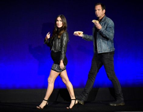 "Megan Fox, left, and Will Arnett, cast members in the coming film ""Teenage Mutant Ninja Turtles: Out of the Shadows,"" take the stage during the Paramount Pictures presentation at CinemaCon 2016, the official convention of the National Association of Theatre Owners (NATO), at Caesars Palace on Monday, April 11, 2016, in Las Vegas. (Photo credit: Chris Pizzello/Invision/AP)"